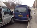 En fotovogn fra Københavns Politi blev i dag påkørt af en invalidebil på Roskildevej i København. Foto: Københavns Politi.